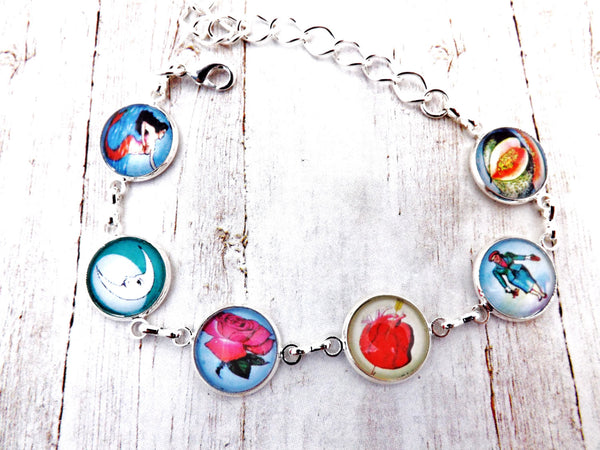Mexican   Day of the Dead Loteria  Silver Bracelet