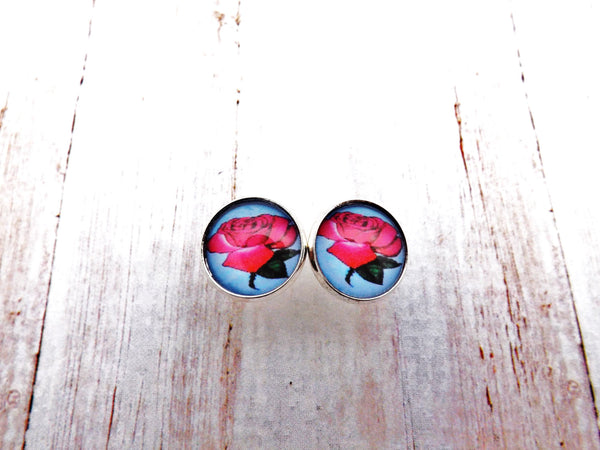 Mexican Loteria Red Rose  Silver Setting Stud Earrings