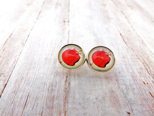 El Corazon Mexican Loteria  Silver Setting Stud Earrings /  The Heart Earrings
