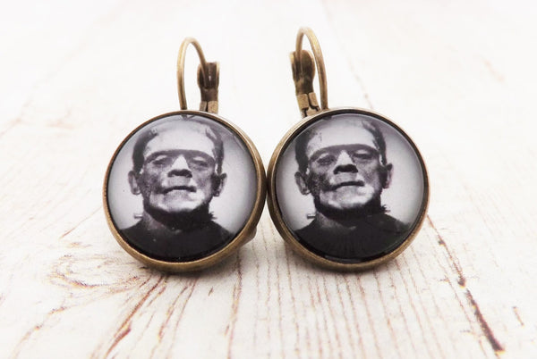 Pinup Rockabilly  Frankenstein  Brass Earrings