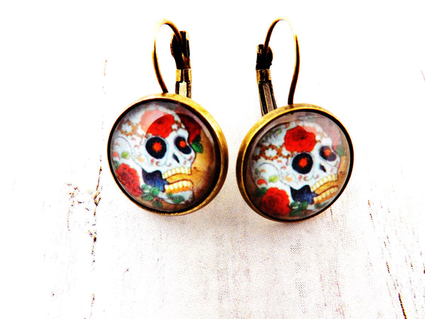 Day of the Dead Skull and Roses Drop Earrings