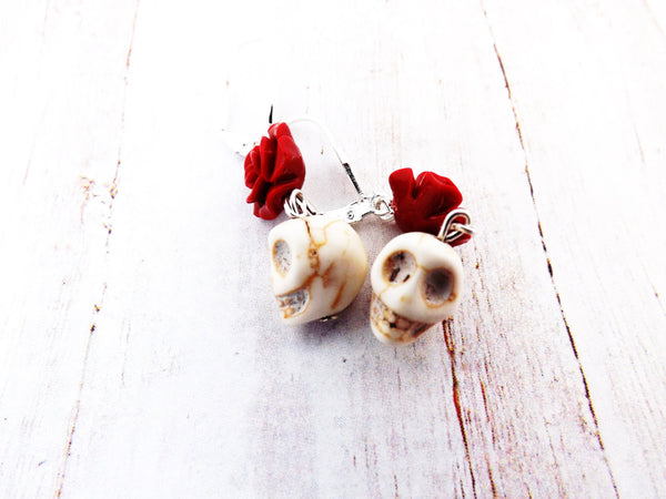 Ivory howlite Skulls and  Red Flower Earrings / Day of the Dead jewelry