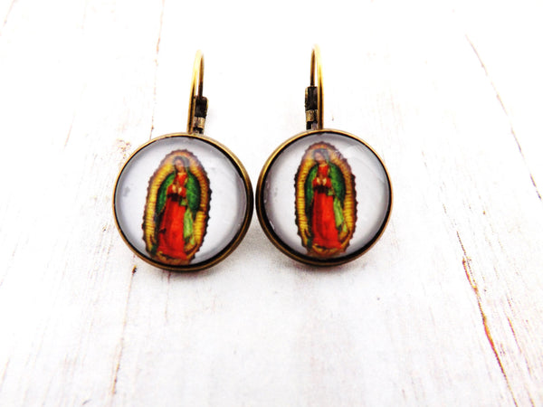 Mexican Guadalupe Virgin Mary Earrings / Rockabilly Pinup Guadalupe Earrings