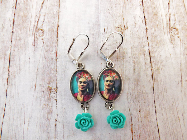 Teal Day of the Dead Skull  and Red Flower Earrings / Dia de los Muertos