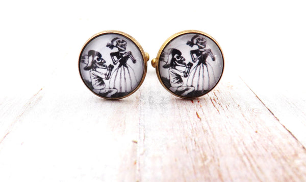 Day of the Dead Engagement Wedding Couple / Catrina Skulls Cufflinks / Men's Cuff links/