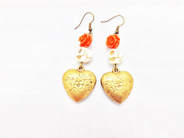WESTERN COWGIRL Heart and Skull Earrings