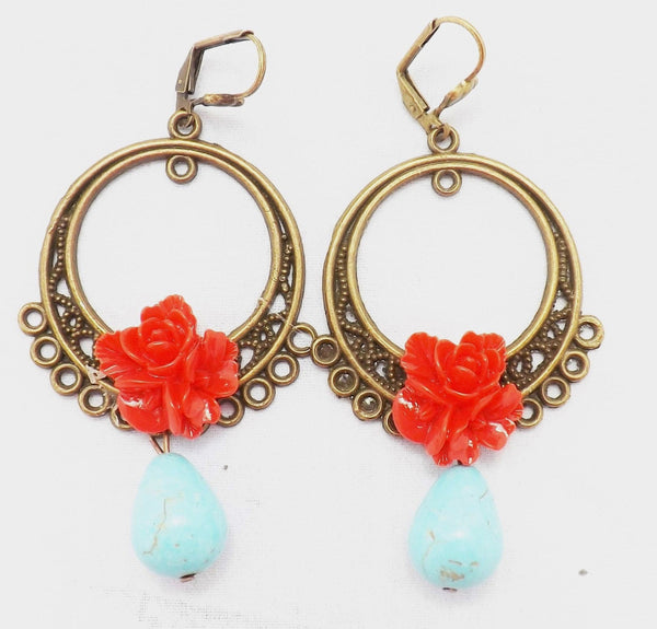 Red Flower Frida Kahlo Boho Folk Dangle Earrings / Red Rose  and Turquoise /