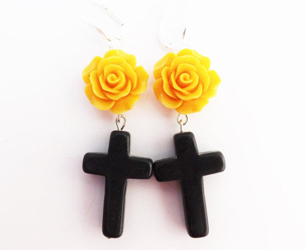 Black Cross and Yellow Flower  Earrings
