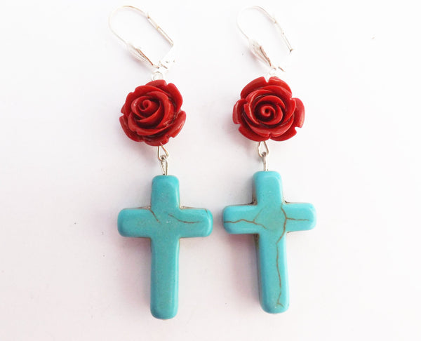Stone Howlite Blue Cross and Red Flower  Earrings