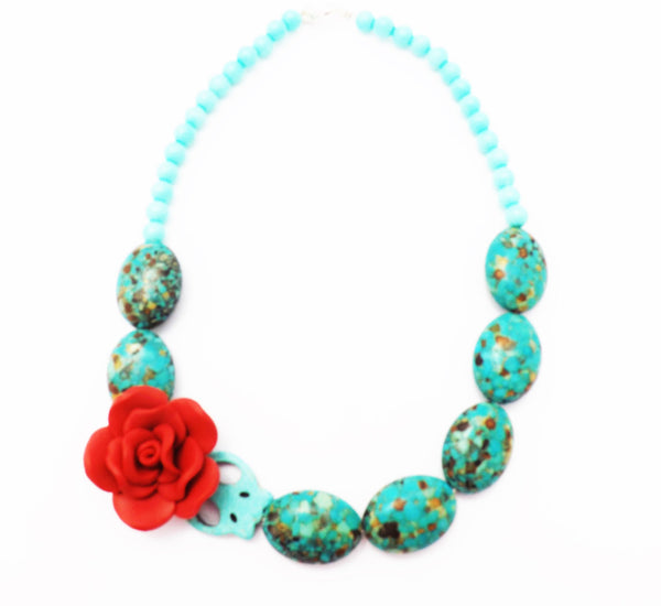 Frida Kahlo Turquoise Howlite Stone and Glass Beads Mexican  Necklace /  Blue Necklace / Red Rose / Frida Kahlo/ Handmade Fimo Flower
