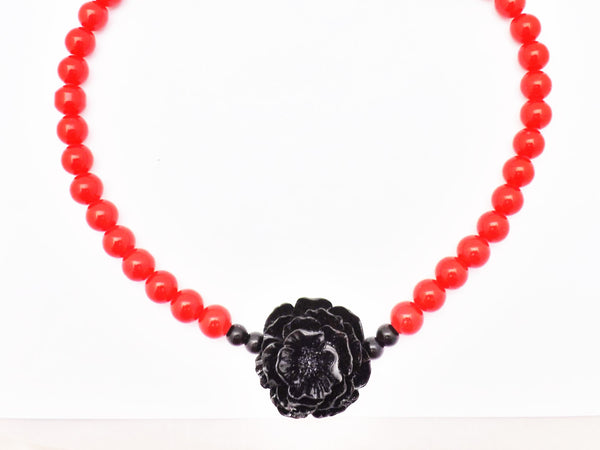 Pinup Girl Tiki Red Glass Bead and Black Resin Rose Necklace