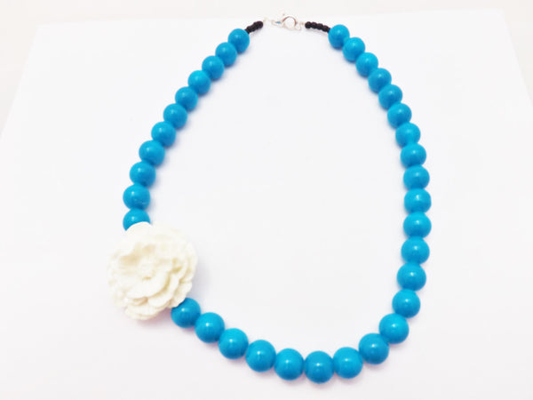 Pinup  Tiki Blue Glass Beads and White  Resin Rose Necklace