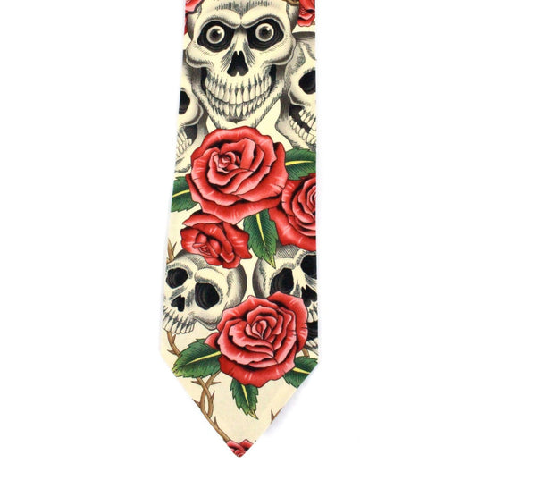 Skulls and Roses Day of the Dead Necktie, Beige