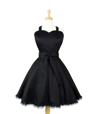 """Queen of Tarts"" Black Ruffle Apron"