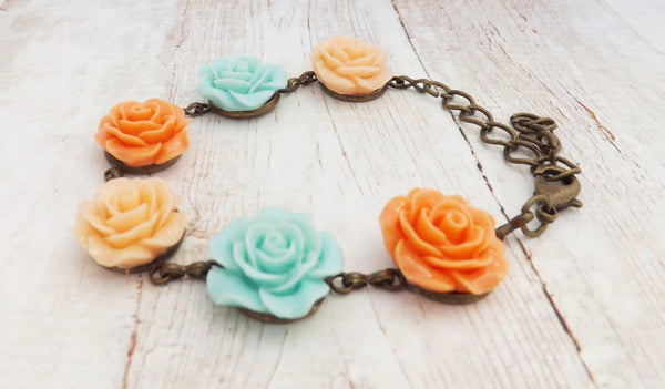 Mint Blue and Light Peach Flower Bracelet