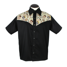 Load image into Gallery viewer, Barbershop Vintage Western Top in Black and Cream