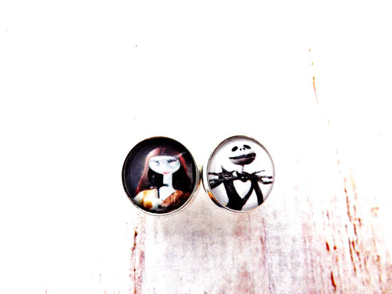 Nightmare Before Christmas Jack & Sally Silver Stud Earrings