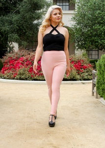 Classic Pink High Waist Cigarette Pants