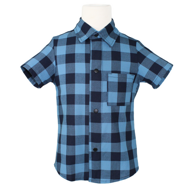 Boy's Retro Blue Plaid Snap Top