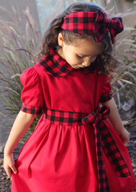 Girl's Holiday Red Plaid Dress with Optional Matching Headband