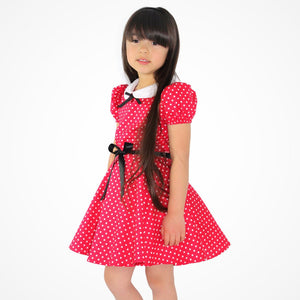 Girl's Red and White Polka Dot Dress