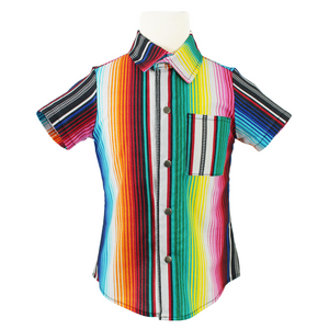 Boy's Festive Serape Snap Top