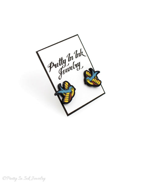 Chubby Lil Swallow Tattoo Earrings