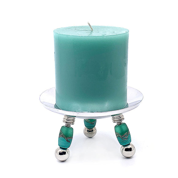 Stainless Steel and Handcrafted Glass Candle Holder and Candle