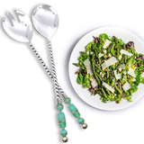 Stainless Steel and Handcrafted Murano Glass Bead Twisted Salad Servers