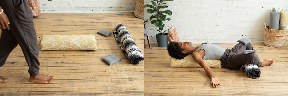Reclined Bound Angle Pose with yoga props