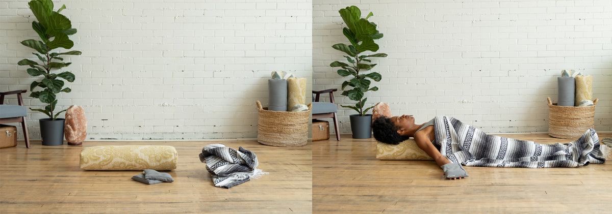 Support Fish Pose with yoga props