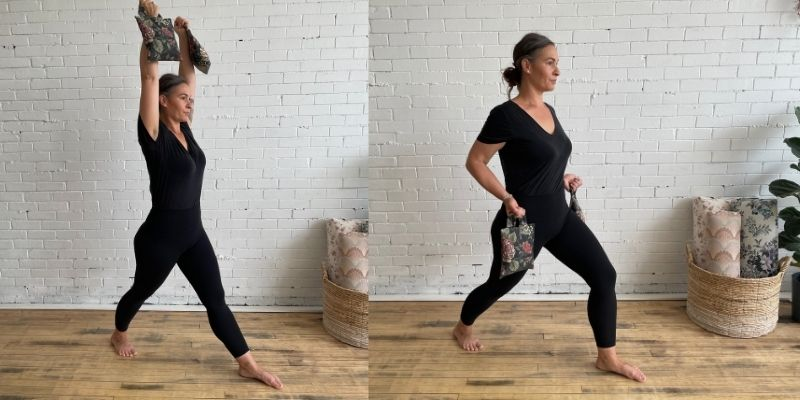 Warrior One Yoga with Weights