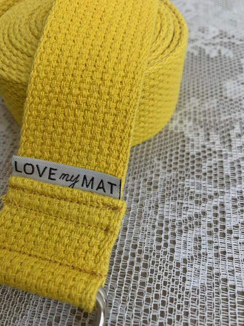 Yellow Cotton Yoga Strap made in Canada