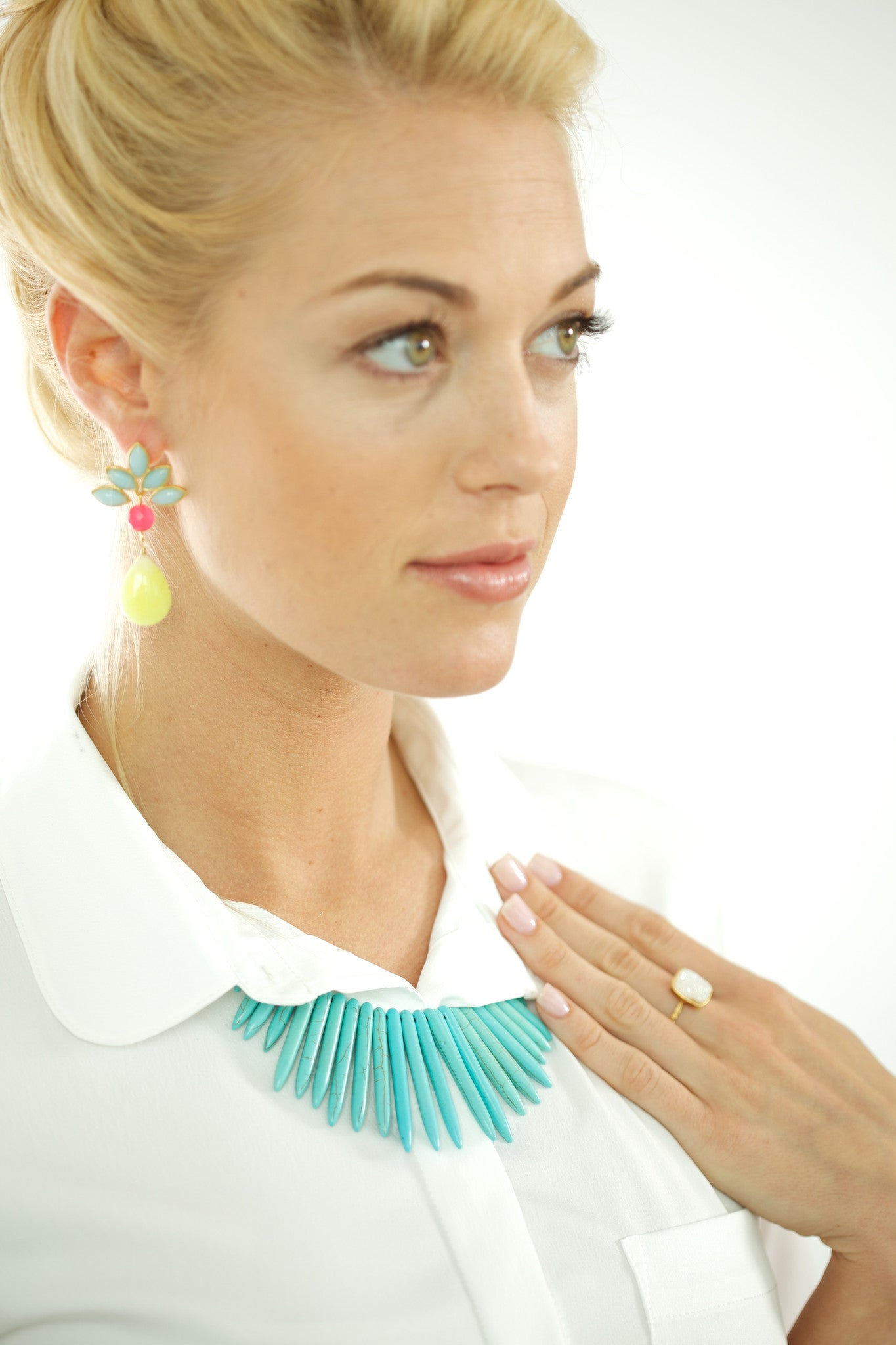 Spike Turquoise Bib Necklace