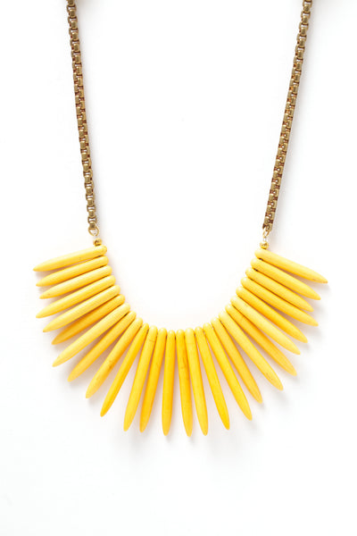 Spike Yellow Bib Necklace