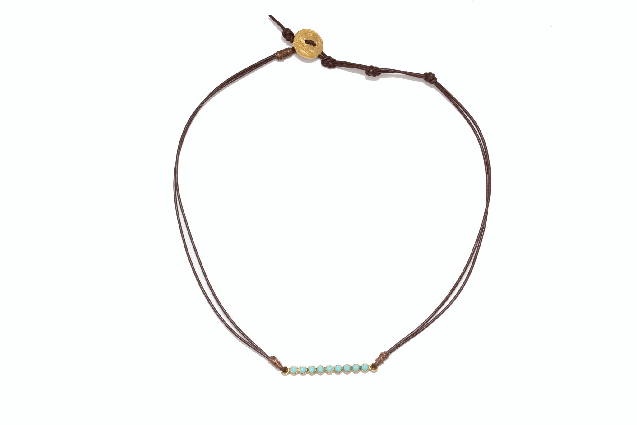 Leather and Turquoise Stick Necklace