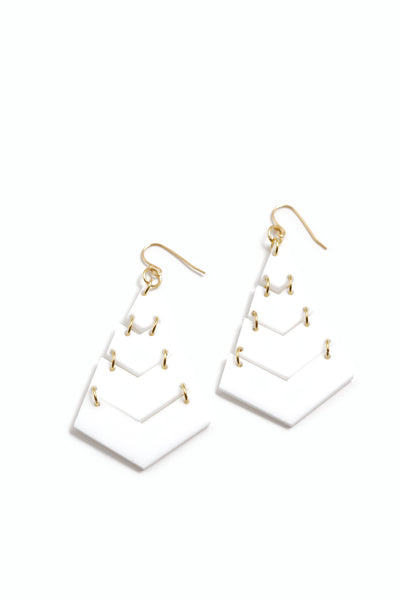 Triangle White Earrings
