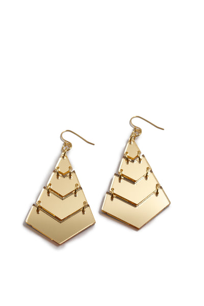 Triangle Gold Mirrored Earrings