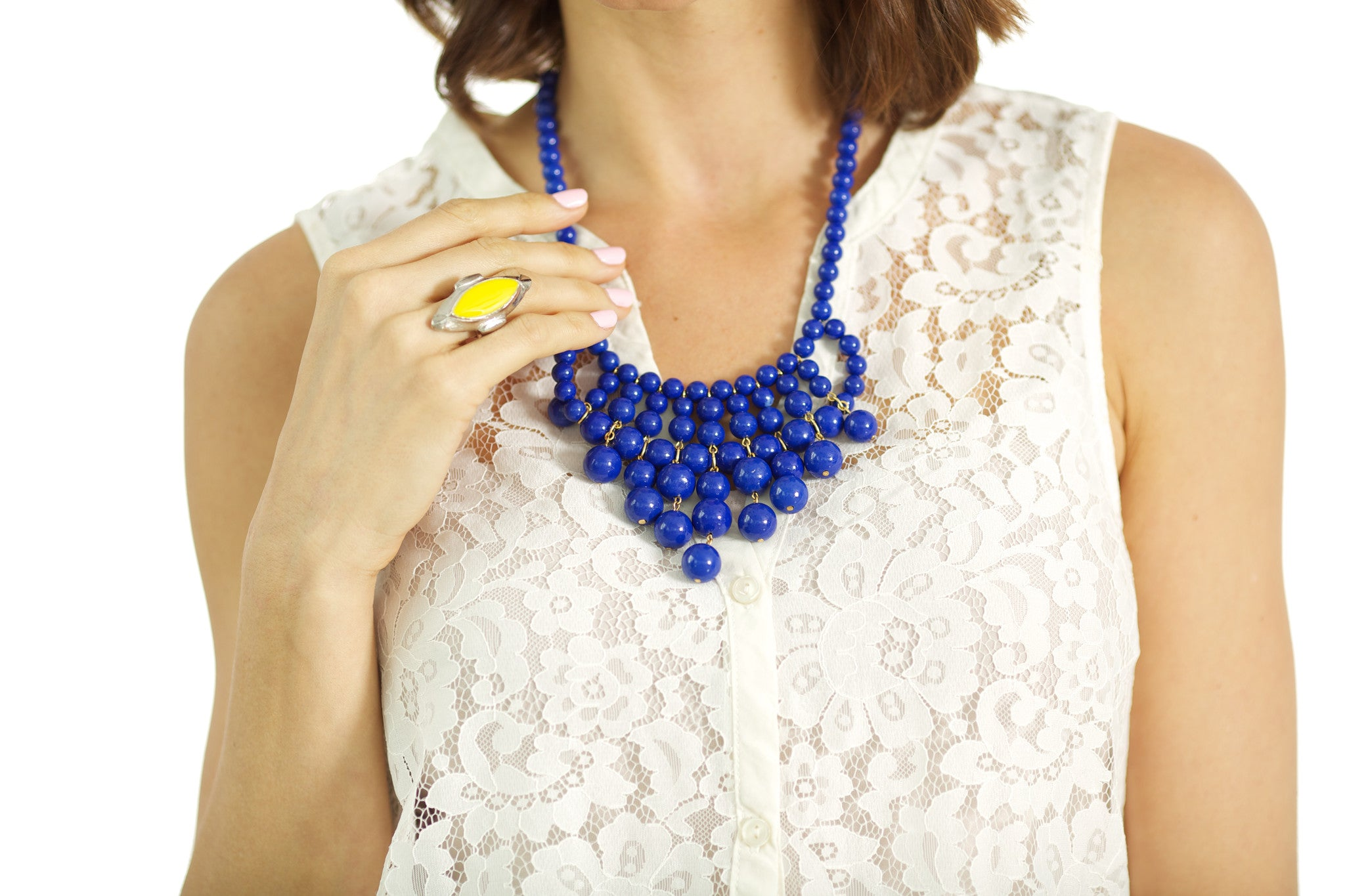 Cobalt Beaded Bib Necklace