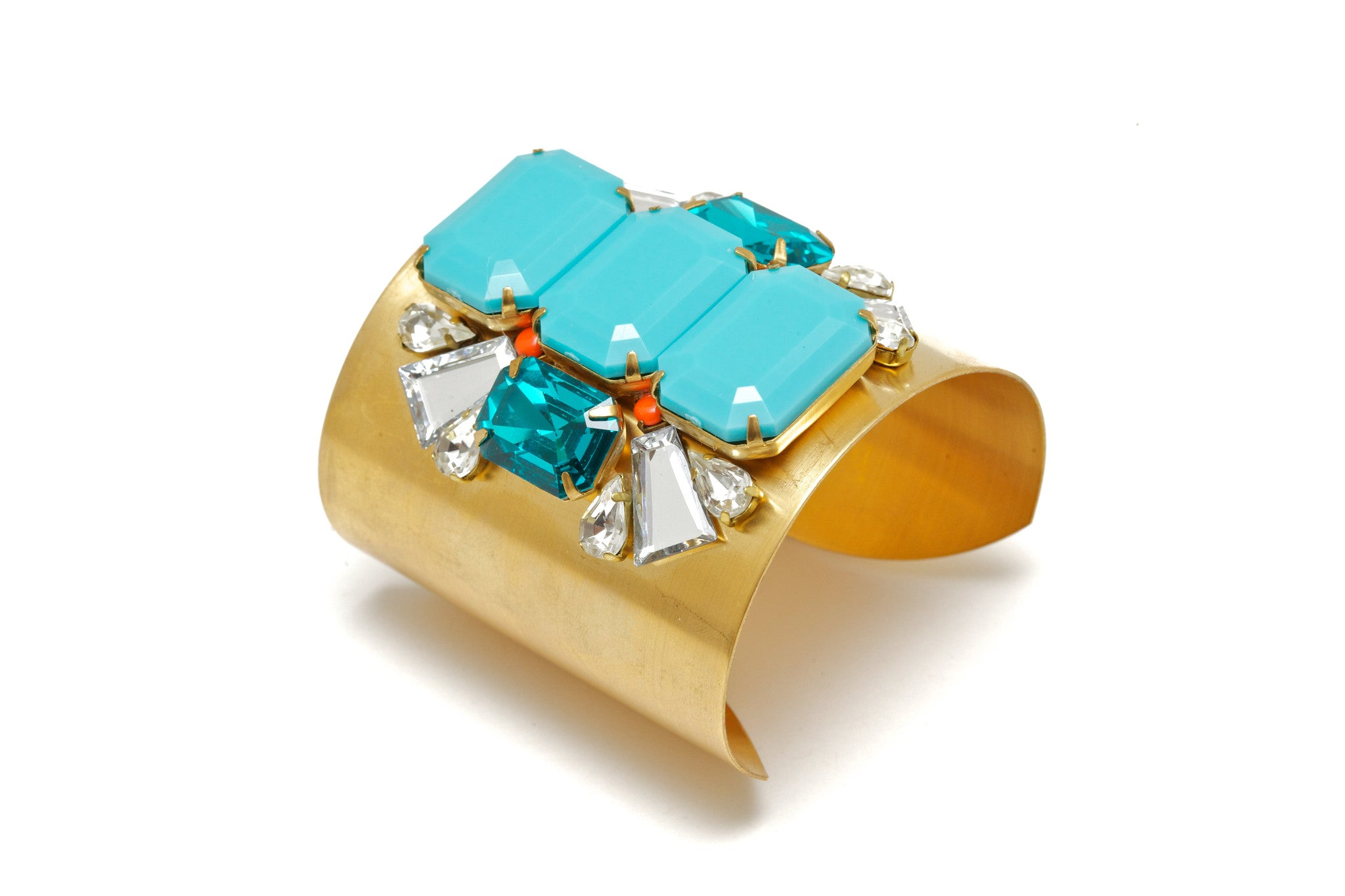 Gold and Turquoise jeweled cuff