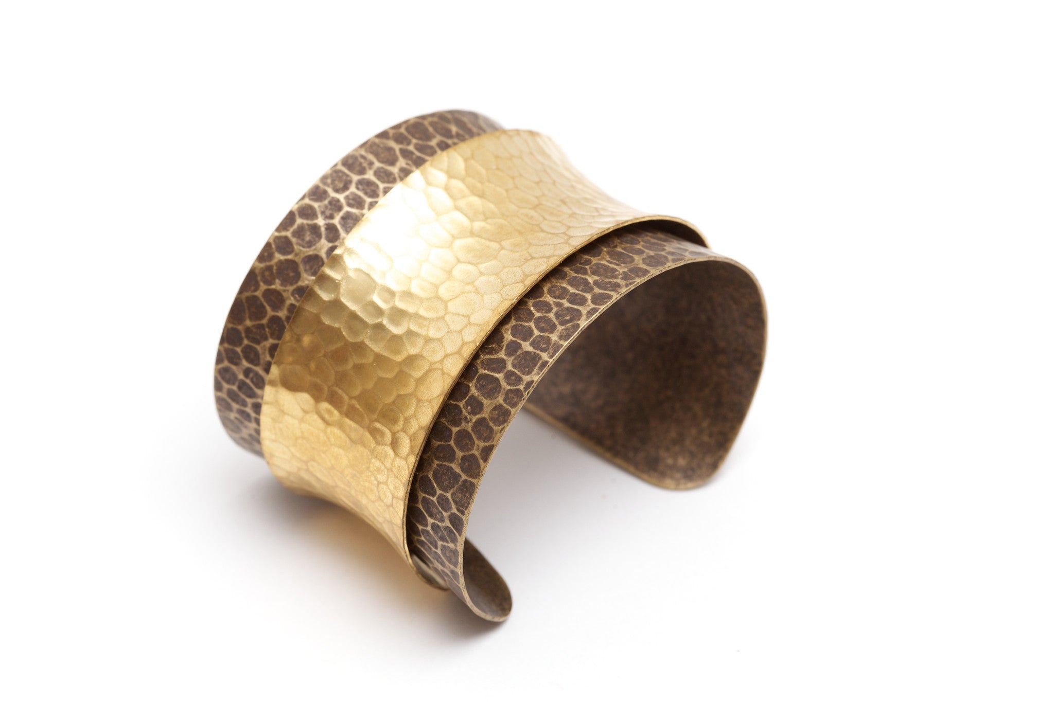 Brass Layered Hammered Cuff