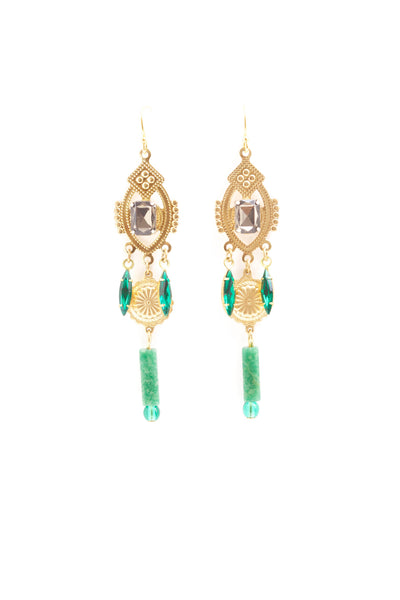 Minette Brass and Emerald Earrings