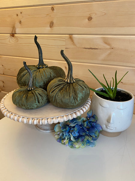 Set of 3 Luxe {MARTINI OLIVE GREEN} Pumpkins! (Small, Large, XLarge)