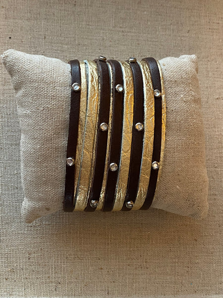 "Double Fringe + Bling + Studs // 2"" Leather Cuff"