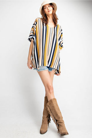 Multi Color Stripe Cold Shoulder Poncho
