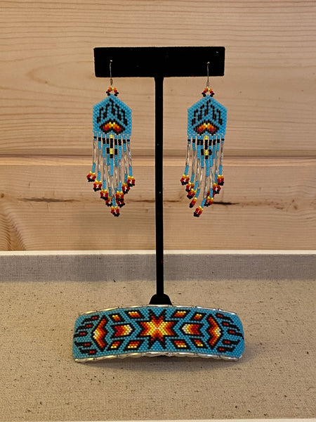 Native American Earrings & Barrette Set #2