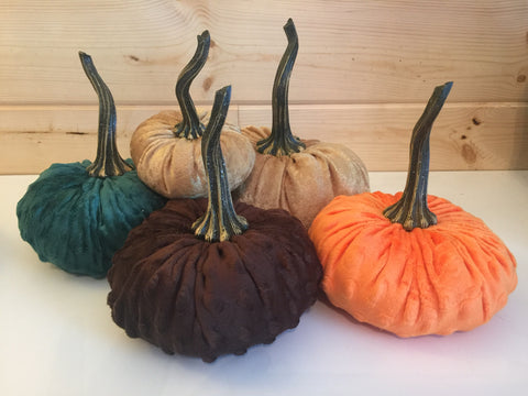 Large {CHOCOLATE BROWN} Nubby Mink Velvet Pumpkins!
