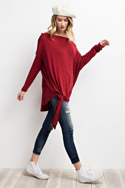 Side Tie Loose Fit Knit Tunic (Wine Red)