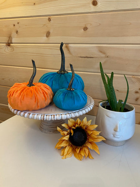 Set of 3 {ORANGE} Nubby Mink Velvet Pumpkins! (Small, Large, XLarge)