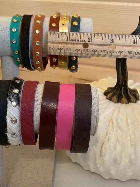 Boho Leather Single Strip Bracelet Cuffs